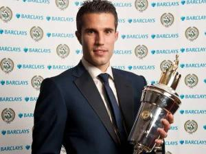 van Persie with his PFA 2011-12 Player of the Year Trophy